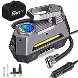 SKEY Compressore Portatile per Auto, gonfiatore Digitale a 12V DC, Pompa per Pneumatici 150 PSI con Luce a LED per Auto, Biciclette, Moto, Palline, materassi ad Aria e Altri