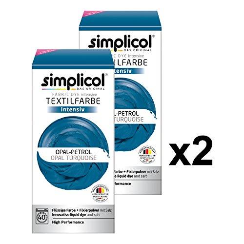 (Simplicol Textilfarbe intensiv (18 Farben), Opal-Petrol 1811 2er Pack: Einfaches Färben in der Waschmaschine, All-in-1 Komplettpackung)