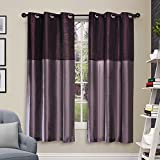 Deco Window 1 Piece Eyelet Window Curtain with white lining 5 ft-Grape Wine Mix