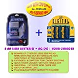 CHARGER + 8AA 2700MAH BATTERIES FOR SONY Digital Camera Cybershot DSC-H1 DSC-H2 DSC-H5 DSC-S600 DSC-S40 DSC-S60 DSC-P20 DSC-P30 DSC-P31 DSC-P51 DSC-P71 DSC-S90 DSC-W5 DSC-W7 DSC-FX77 DSC-P41 DSC-P73 DSC-P93 DSC-W1 DSC-P52 DSC-P92 DSC-P32 DSC-P72