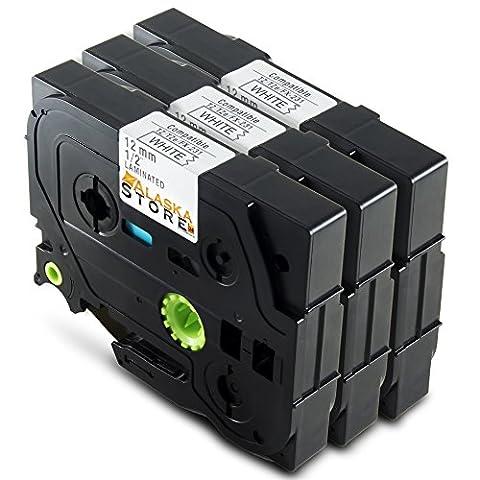 Alaskaprint 3x Rubans Cassettes Compatibles avec Brother TZe-231 / TZ-231 Rubans étiquette Cassettes 12mm x 8m noir sur blanc pour Brother P-Touch 1000W 1010 1080 200 220 2400 2450 2460 1090 2480 1200 1250 1280 1750 1800 1850 300 310 340 540 550 350 900 9400 9600 3600 1290 1200P 1230PC 1830VP 2030VP 2100VP 2430PC 2470 2730VP 7100 VP7600VP H100R H300 D200VP et autres P-Touch étiqueteuse (3x morceau)