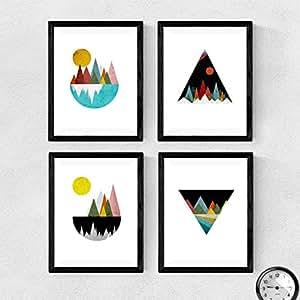 Set di 4fogli per cornice, 4posters con immagini di montagna geometrico. Fogli stile nordico. Decorazione di Casa. Carta 250g alta qualità. Decora salotto, o angolo il regalo perfetto. poster stile scandinavo, prodotto di design. (A4)