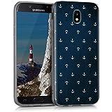 kwmobile Hülle für Samsung Galaxy J5 (2017) DUOS - TPU Silikon Backcover Case Handy Schutzhülle - Cover klar Anker Muster Design Weiß Dunkelblau