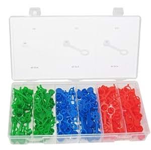 Alkan-Werkzeug Lot de 150 bouchons de protection pour bouchons graisseurs Boîte de rangement incluse Rouge/bleu/vert M6/M8/M10