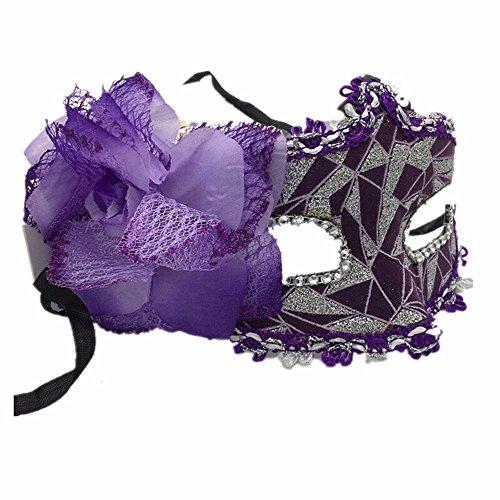 Masken Gesichtsmaske Gesichtsschutz Domino falsche Front Halloween Neujahr Ball Prinzessin Maske Spitze Party Cos Halbe Gesicht Maske Lila