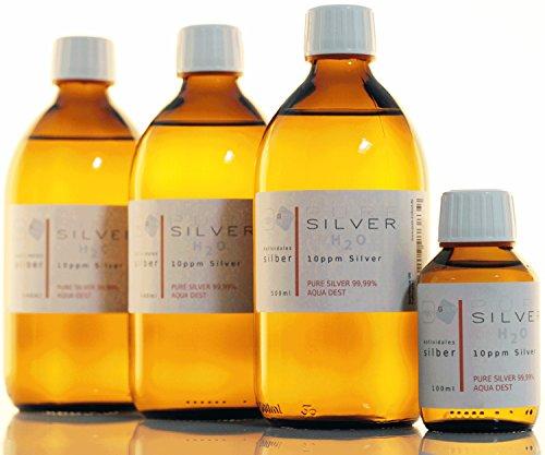 1600ml l'argent colloïdal PureSilverH2O© / 3x bouteilles (500 ml / 10 ppm) de l'argent colloïdal + bouteille (100 ml / 10 ppm) - 99,99% d'argent fin