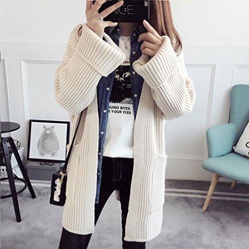 WanYang Femmes Mode Décontractée Manteau Pull Cardigan Pulls A Manches Longues De Couleur Unie Beige