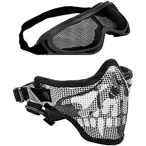 2en 1combo–Skull máscara de táctico metálico de protección Skull & gafas táctico X400protección esquí Airsoft Paintball
