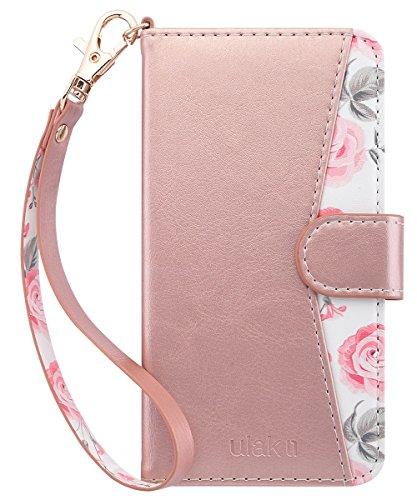 ULAK iPhone 6s Hülle, iPhone 6 Brieftasche hülle Kartenhalter ID Slot Handschlaufe Flip Shockproof Vollschutz PU Leder Tasche für iPhone 6s / 6 4,7 Zoll (Roségold)