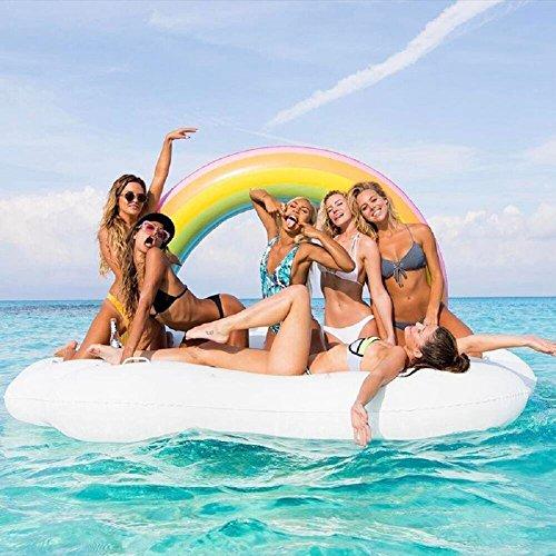 Jasonwell gigante gonfiabile nuvola arcobaleno piscina gonfiabile galleggiante mare estiva all'aperto per feste gonfiabile giocattolo acqua zattera spiaggia oceano lago giochi per adulti e bambini
