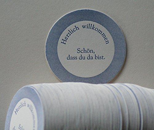 """Bierdeckel,""""Herzlich willkommen"""", Geschenk, Feier, Geburtstag, rund, Prägedruck, Weinuntersetzer, Geschenkidee, Bierfilz, Pappe, Bierglasuntersetzer"""