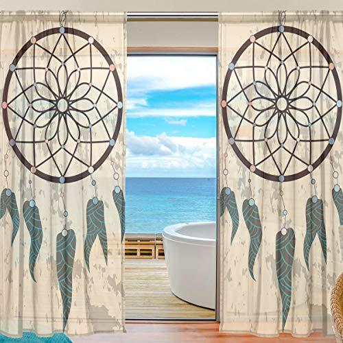 Funnyy Cortina de gasa para ventana, diseño étnico indio bohemio atrapasueños, paneles de cortina de tul para dormitorio, sala de estar, decoración del hogar, 55 x 78 pulgadas, 2 paneles, 55 x 84 inch