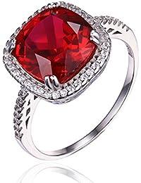 JewelryPalace 6.76ct de las mujeres creó el anillo de zirconia cúbico del rubí sólido de la plata esterlina del sólido 925
