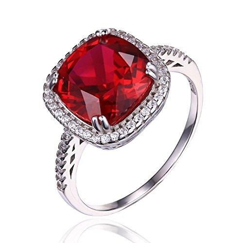 JewelryPalace Kissen 6.5ct Synthetisch Rot Rubin Halo Verlobungsring Solitär Ringe 925 Sterling Silber Größe 51 to 59