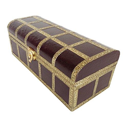 "Lavender Craft ARTIFICIAL LEATHER finish, Wooden Handmade Multi Purpose Box (11""x5""x4.25"" Inch) Dark Brown"