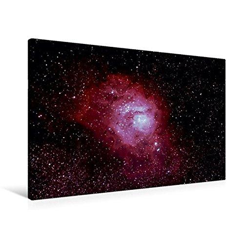 Premium Textil-Leinwand 90 cm x 60 cm quer, Lagunennebel   Wandbild, Bild auf Keilrahmen, Fertigbild auf echter Leinwand, Leinwanddruck: Messier 8...