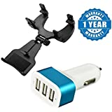 Drumstone Triple Universal USB 3 Port Car Charger Adapter Socket 2A, 2.1A And 1A With Mobile Car Rear View Mirror Mount Holder Compatible With Xiaomi, Lenovo, Apple, Samsung, Sony, Oppo, Gionee, Vivo Smartphones (One Year Warranty)