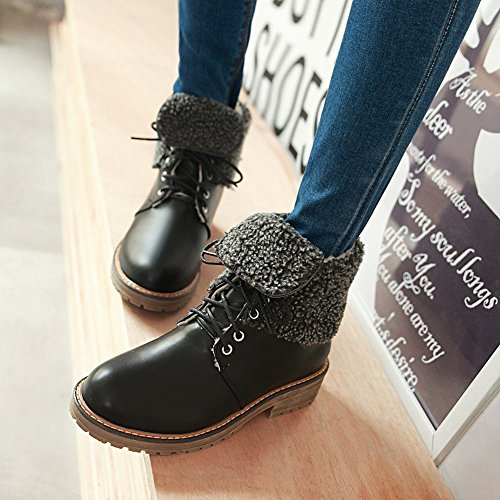 Mee Shoes Damen warm gefüttert chunky heels kurzschaft Stiefel Schwarz