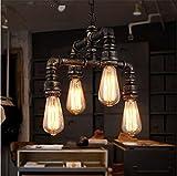Joeyhome Tubo di acqua in stile loft Edison lampada illumina Ciondolo Attrezzature industriali Vintage lampadario per sala da pranzo Bar Lamparas Colgantes