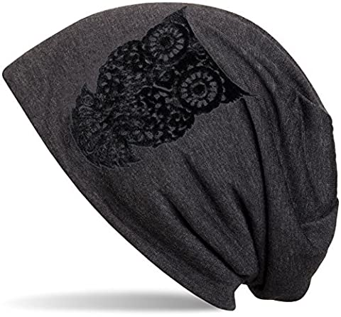 styleBREAKER beanie hat with owl flock print, women 04024040, colour:anthracite flecked