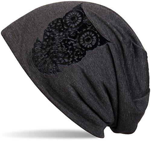 styleBREAKER klassische Beanie Mütze mit Eulen Flock-Print, Damen 04024040, Farbe:Anthrazit meliert (Animal Beanie-mütze)