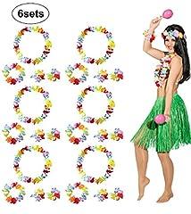 Idea Regalo - BigLion Set Costume Hawaiano Fiori Leis Bracciali Fascia Collana Ghirlanda per Fancy Dress Estate Luau Spiaggia Tema Partito 6 Set