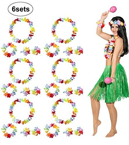 BigLion Hawaiian Blumen Leis Kostüm Set Blumen Armbänder Stirnband Halskette Girlande für Luau Beach Party Dance Gefälligkeiten Kostüm Frauen 6 Sätze