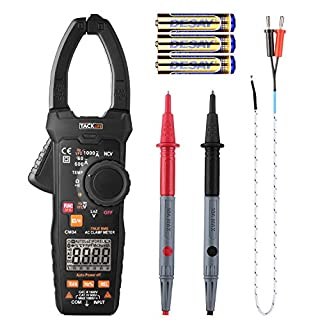 TACKLIFE Clamp Meter, CM04 9.77 Inches Multimeter Auto-Ranging 6000 Counts Electrical Tester, MAX 1000A AC Current, AC/DC Voltage, Ohm, Hz, LowZ, NCV VFD, Continuity, Capacitance Professional Meter