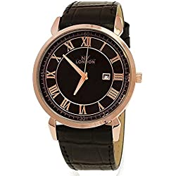 NY London Designer Slim, Black, Rose Gold, Men's Leather Wrist Watch with Date, Super Flat + Watch Box