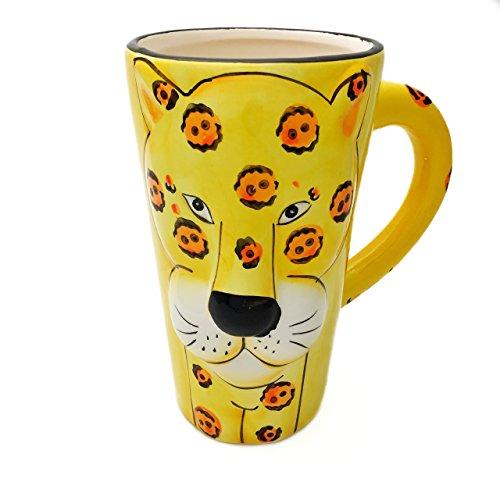 Unbekannt Tasse groß, gelb lustig mit Tier Motiv in 3D Leopard | 450ml (500ml randvoll) |...
