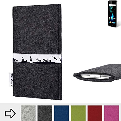 flat.design für Allview P6 Pro Schutzhülle Handy Case Skyline mit Webband Ostsee - Maßanfertigung der Schutztasche Handy Hülle aus 100% Wollfilz (anthrazit) für Allview P6 Pro