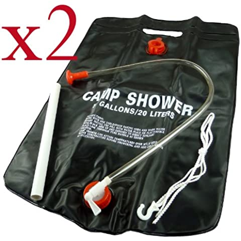 2 x Portable Solar, Doccia da campeggio, 20 L di acqua calda per doccia