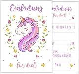 Set 12 Einladungskarten Einladungen Kindergeburtstag Geburtstag Party Mädchen mit süßem Einhorn in rosa und pink Postkarte Einladung