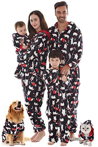 Jumpsuit Halloween Kostüm Anzug Pet Haustier Schlafanzug Lang Pajama Onepiece Tier Anzug Einteiler Fleece Overall Winter Weihnachten Familie Set,Grau,Pet: (Niedliche Tiere Weihnachten Kostüm)