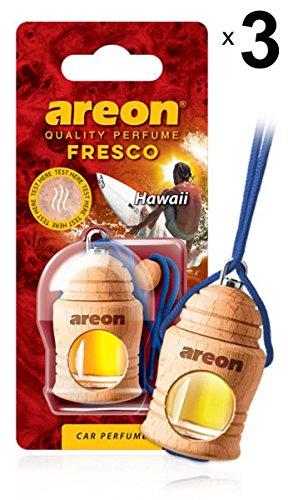 Preisvergleich Produktbild Areon Fresco Auto Duft Hawaii Autoduft Lufterfrischer Blau Glas Flasche Duftflakon Parfüm Flakon Holz Set Aufhängen Hängend Anhänger Spiegel Geruch Erfrischer 4ml 3D ( Pack x 3 )