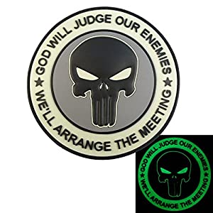 ACU GOD WILL JUDGE OUR ENEMIES Glow Dark Punisher DEVGRU Marine Navy Seals PVC Velcro Écusson Patch