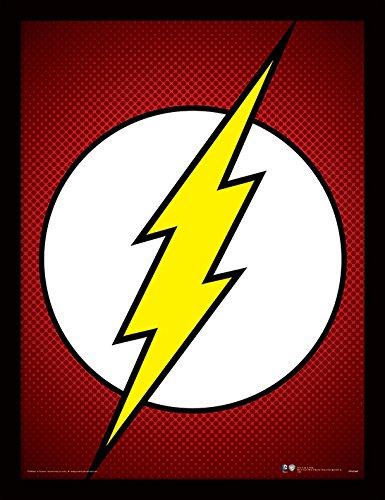 Gsm-flash (Pyramid International FP11206P-PL DC Comics (The Flash Symbol) gerahmter Druck, 250 gsm Paperwrap MDF, mehrfarbig, 44 x 33 x 4 cm)