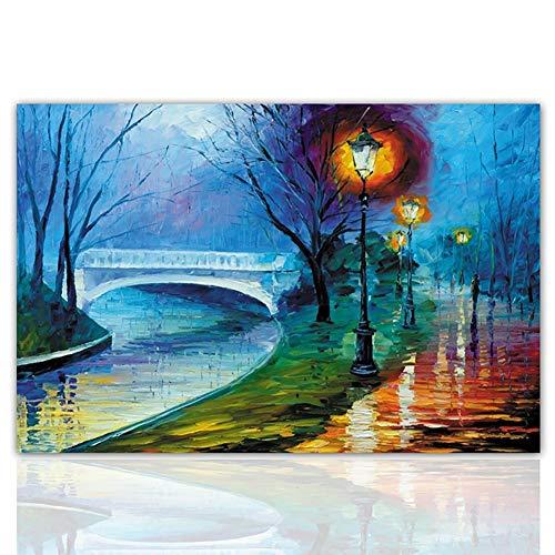 Strukturierte Leinwand Kunst (QKa Landschaftsölmalerei auf Leinwand, strukturierter Baum von zeitgenössischer Kunst Wandmalerei Handgemälde Inneneinrichtung Dekorationen Canvas Wall Art Painting,002,40x60cm)