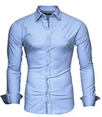 Idea Regalo - Kayhan Uomo Slim Fit Maniche Lunghe di ferro se necesario -Modello UNI, Sky Blue, X-Large