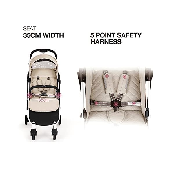 Allis Travel Pushchair Buggy Lightweight Stroller Plume - Beige  High Quality, made according to British Standard EN1888, Fabrick OKo-Tex standard 100 and Fire Safety Regulations 1988. Suitable from 6M ( upto 15Kg Approx) Lightweight 5.8Kg, Travel size and easy to fold with one hand only 4