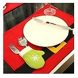 yookoon alfombrillas con bolsa de vajilla para mesa de Navidad Creative Home Hotel Restaurante diseño Navidad decoración