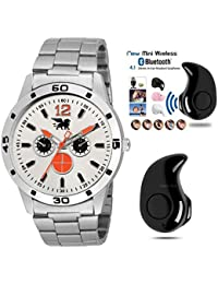 CARLOS Combo Of Stylsih Silver Color Dial Watch With Mini Stereo Bluetooth 4.1 Headset For Men And Boy's