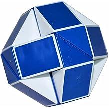 Serpiente Mágica Gobernante Torcedura Puzzle Cubo, LSMY Toy Blanco/Azul