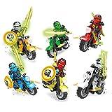 Sonnena Kinderspielzeug 6 X Minifiguren Ninjago Spielzeug Karikatur Ninja Motorrad Chariot Blöcke Spielzeug Puppenspielzeug Babyspielzeug Geburtstagsgeschenk für Kinder (6pc)