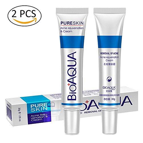 2 Stück Anti-Akne-Creme, BioAqua Akne-Narbe Behandlung, Öl-Kontrolle Schrumpfen Poren Gesichtspflege Creme