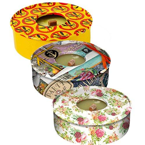 3velas en latas de Citronella | repelente de insectos | resistente al viento | al aire libre: jardín, patio o de viaje | di NO a todos los