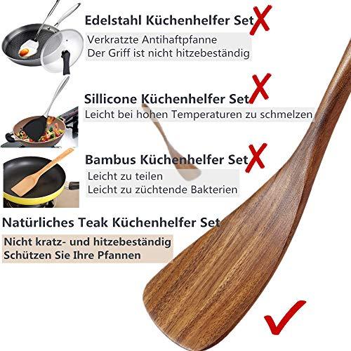 Loned Küchenhelfer Set, 7 Stück Holz Küchenutensilien Sets, Hitzebeständig und Antihaft, Japanischer Stil - 4