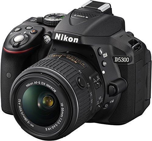 Nikon D5300 SLR-Digitalkamera (24,2 Megapixel, 8,1cm LCD-Display, Full HD, HDMI, WiFi, GPS, AF-System mit 39 Messfeldern) Kit inkl. AF-S DX 18-55 VR II Objektiv schwarz (Generalüberholt) -