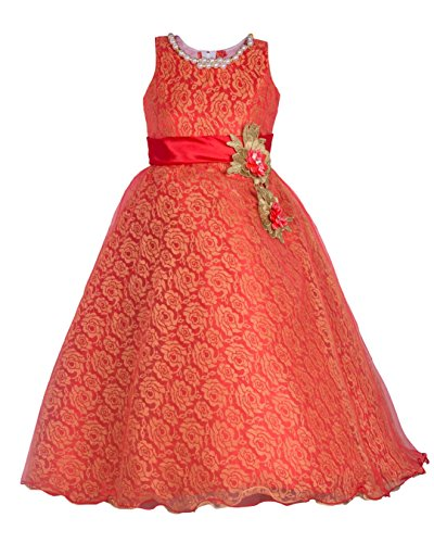 My Lil Princess Girl's Blended Frock (My Lil Princess_Red Two Pearls_32_Red_8-9 Years)