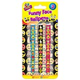 3 x Funny Face Ballpoint Pens Emoji Style Gift School Home Stocking Fillers Gift